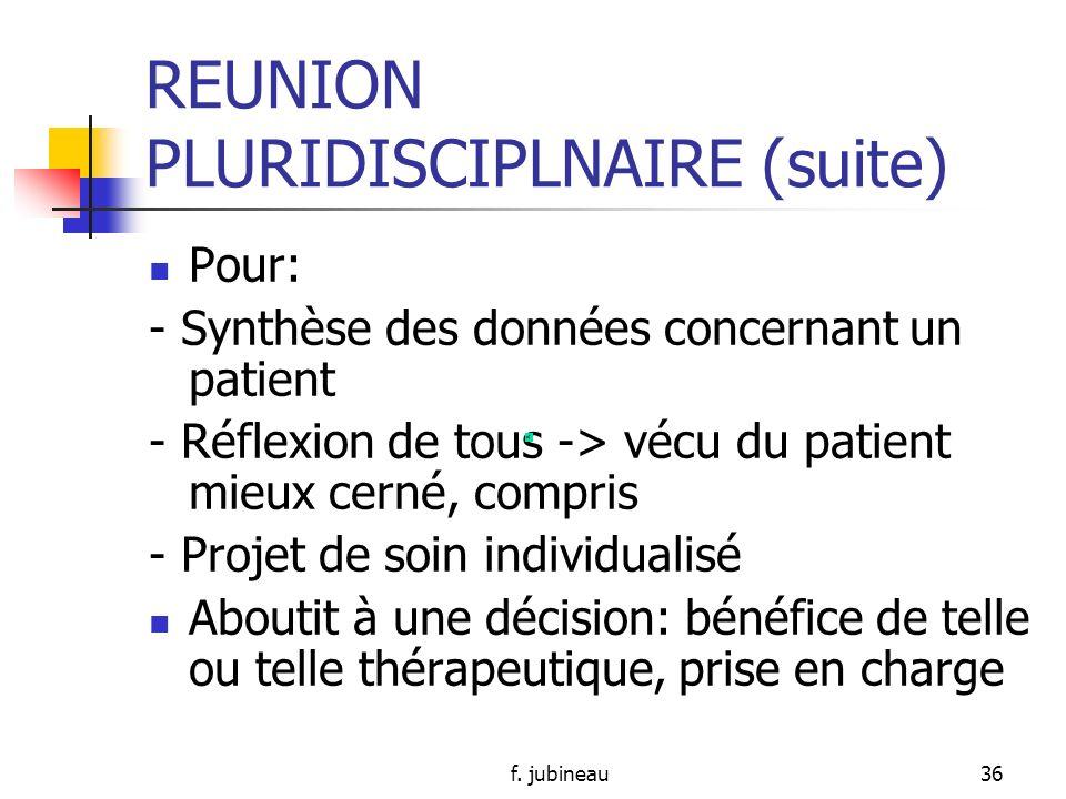 f. jubineau35 REUNION PLURIDISCIPLNAIRE Qui ?: tout soignant exerçant auprès du patient (médecin, psychothérapeute, infirmière, aide- soignant…) But ?