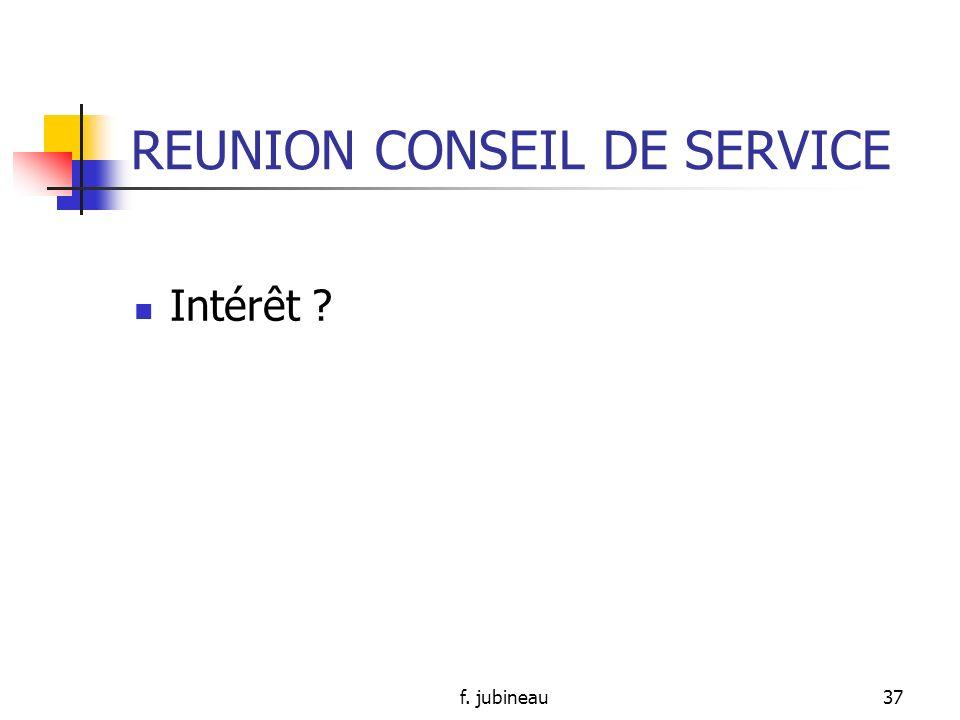 f. jubineau36 REUNION PLURIDISCIPLNAIRE (suite) Pour: - Synthèse des données concernant un patient - Réflexion de tous -> vécu du patient mieux cerné,
