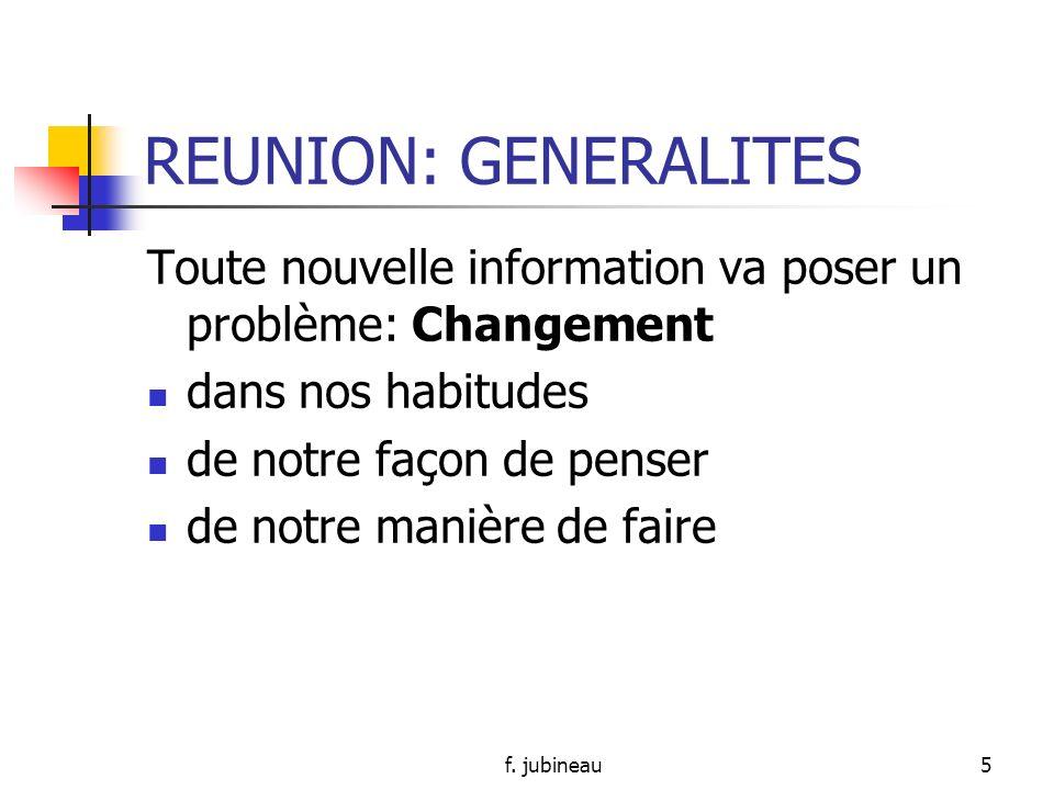 f. jubineau4 REUNION: GENERALITES Permettre: interrogations Enrichissement des pratiques Acquisition dun soutien -> répercussion sur la qualité des so