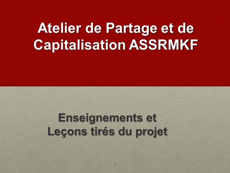 Atelier de Partage et de Capitalisation ASSRMKF Enseignements et Leçons tirés du projet 1