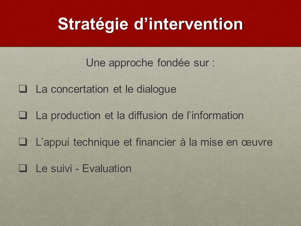 Une approche fondée sur : La concertation et le dialogue La concertation et le dialogue La production et la diffusion de linformation La production et