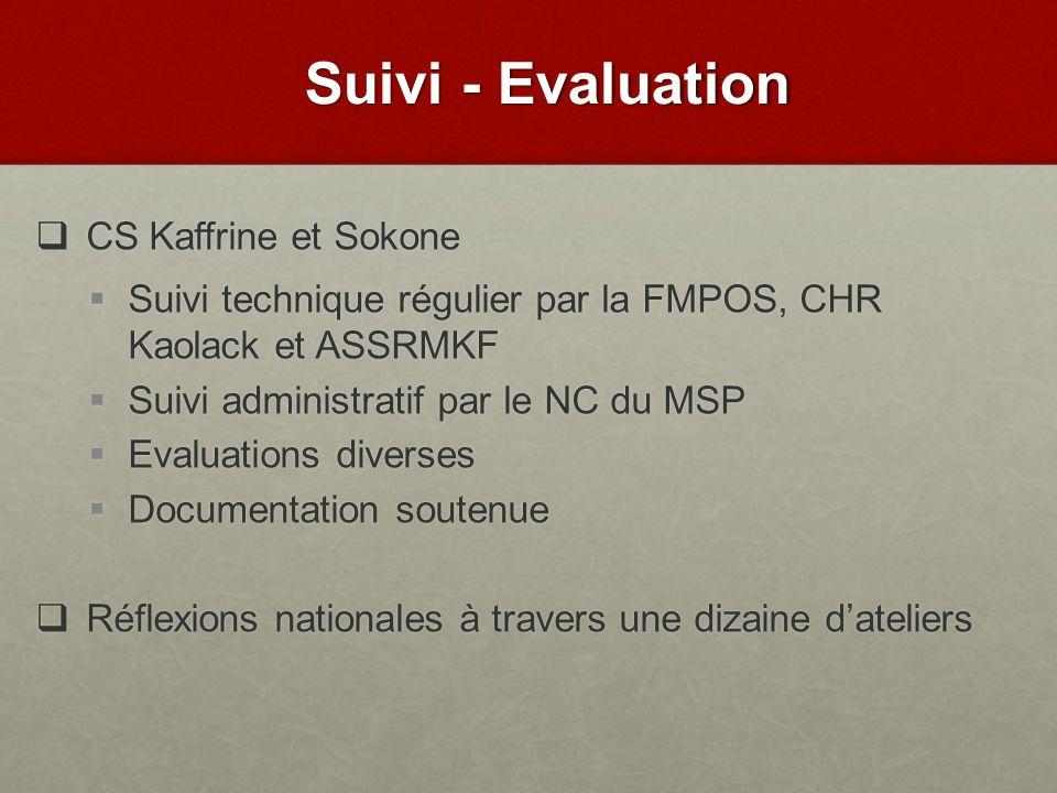 CS Kaffrine et Sokone CS Kaffrine et Sokone Suivi technique régulier par la FMPOS, CHR Kaolack et ASSRMKF Suivi technique régulier par la FMPOS, CHR K
