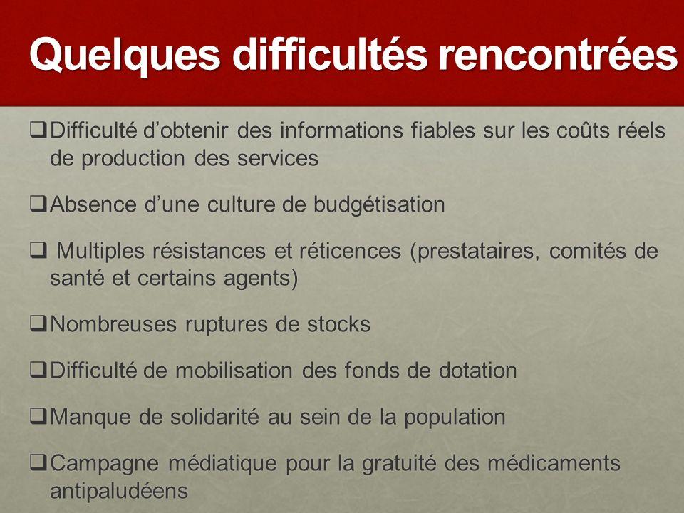 Quelques difficultés rencontrées Difficulté dobtenir des informations fiables sur les coûts réels de production des services Difficulté dobtenir des i