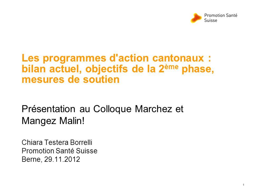 1 Les programmes d'action cantonaux : bilan actuel, objectifs de la 2 ème phase, mesures de soutien Présentation au Colloque Marchez et Mangez Malin!