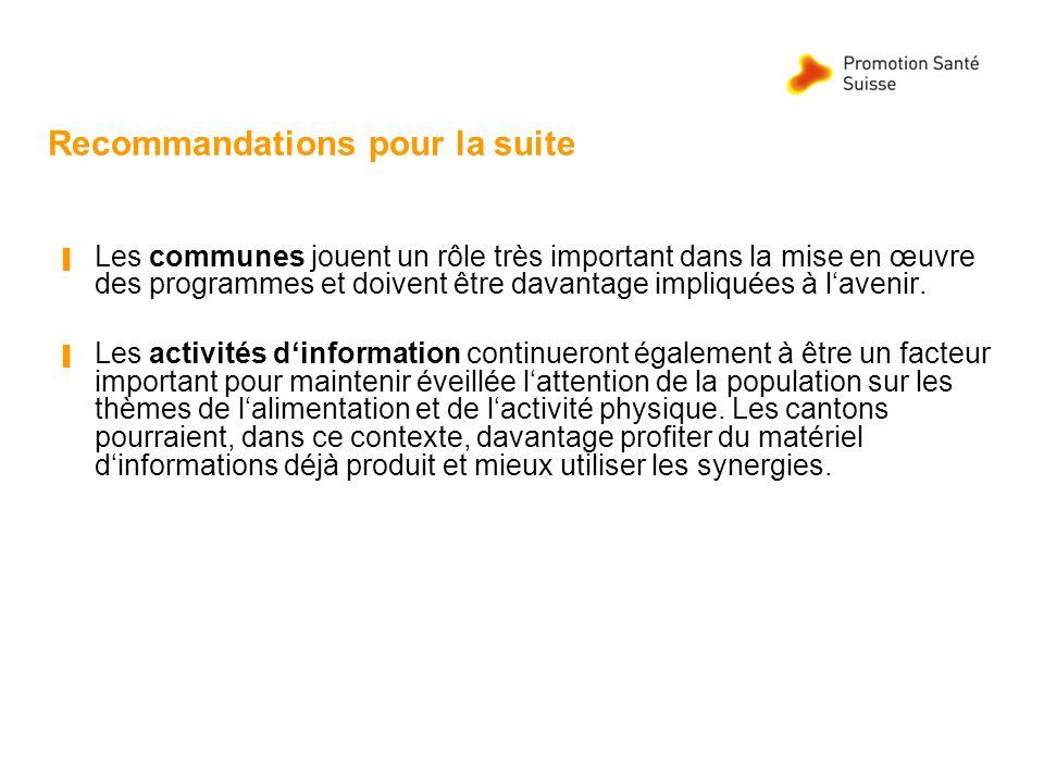 Recommandations pour la suite Les communes jouent un rôle très important dans la mise en œuvre des programmes et doivent être davantage impliquées à l