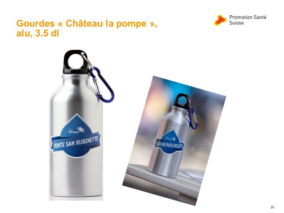 Gourdes « Château la pompe », alu, 3.5 dl 26