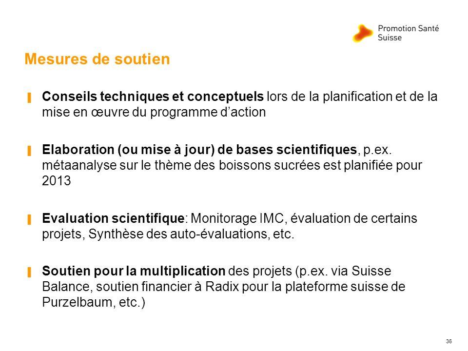 Mesures de soutien Conseils techniques et conceptuels lors de la planification et de la mise en œuvre du programme daction Elaboration (ou mise à jour