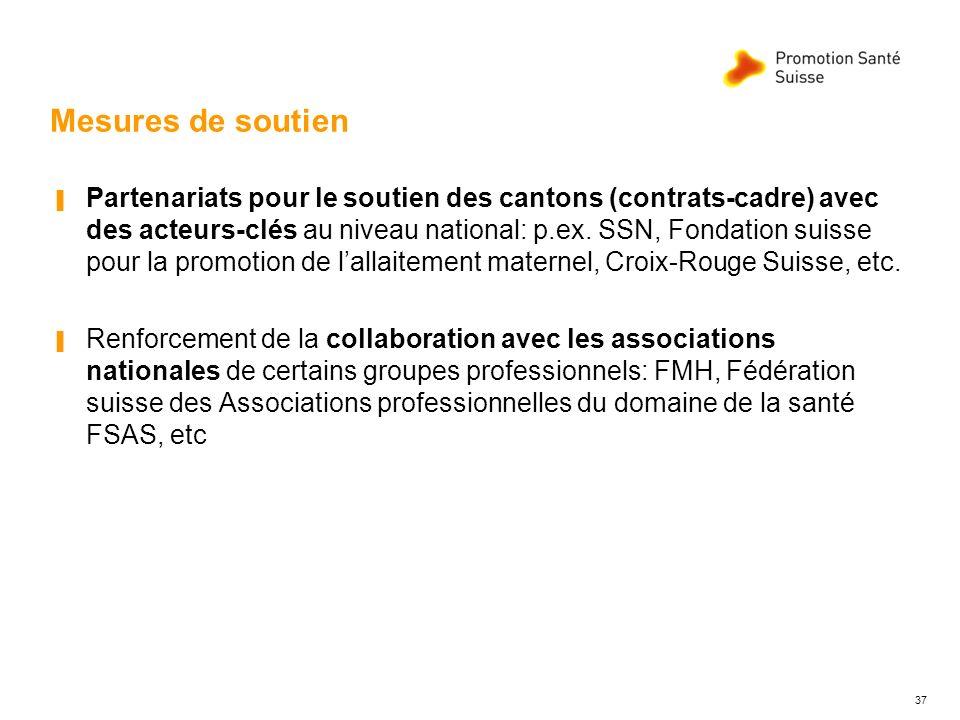 Mesures de soutien Partenariats pour le soutien des cantons (contrats-cadre) avec des acteurs-clés au niveau national: p.ex. SSN, Fondation suisse pou