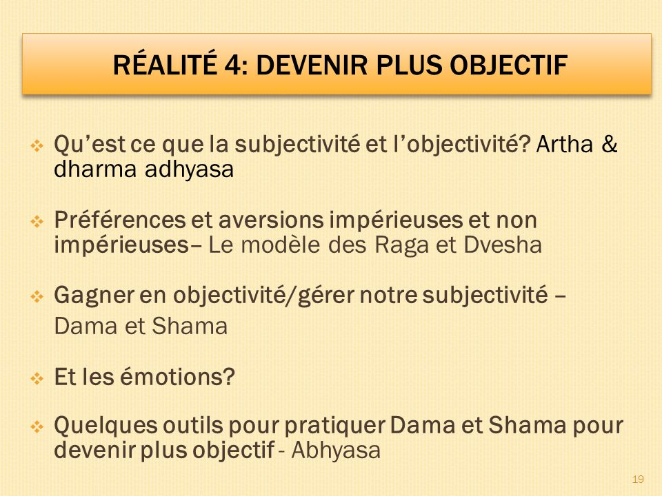 Quest ce que la subjectivité et lobjectivité? Artha & dharma adhyasa Préférences et aversions impérieuses et non impérieuses– Le modèle des Raga et Dv
