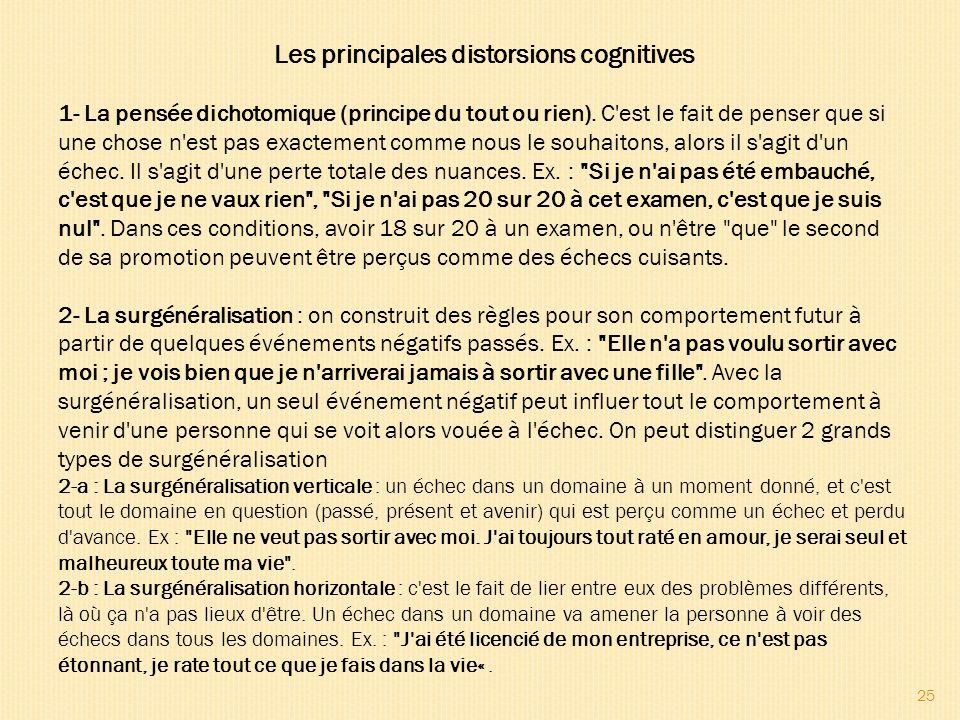 25 Les principales distorsions cognitives 1- La pensée dichotomique (principe du tout ou rien). C'est le fait de penser que si une chose n'est pas exa