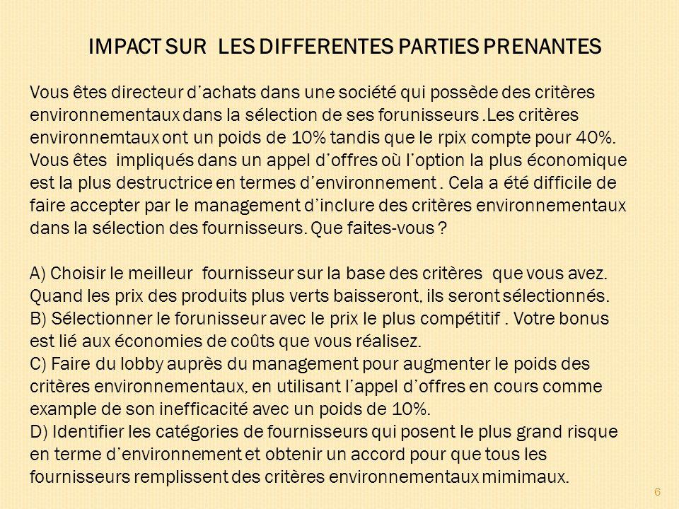 6 IMPACT SUR LES DIFFERENTES PARTIES PRENANTES Vous êtes directeur dachats dans une société qui possède des critères environnementaux dans la sélectio