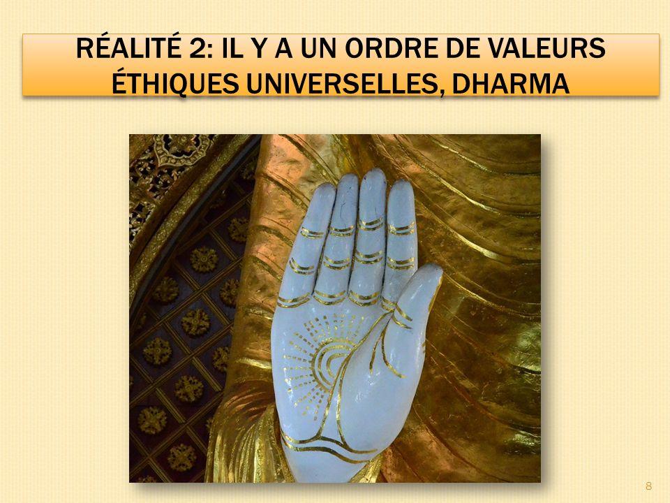 RÉALITÉ 2: IL Y A UN ORDRE DE VALEURS ÉTHIQUES UNIVERSELLES, DHARMA Quest ce que le dharma.