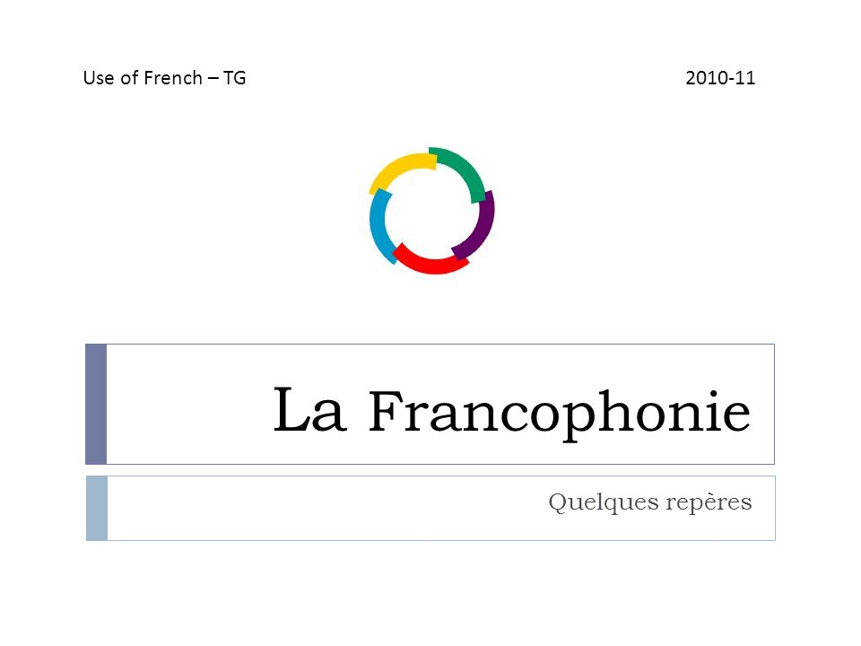 La Francophonie Quelques repères Use of French – TG 2010-11