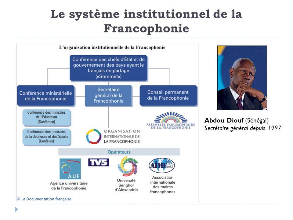 Le système institutionnel de la Francophonie Abdou Diouf (Sénégal) Secrétaire général depuis 1997