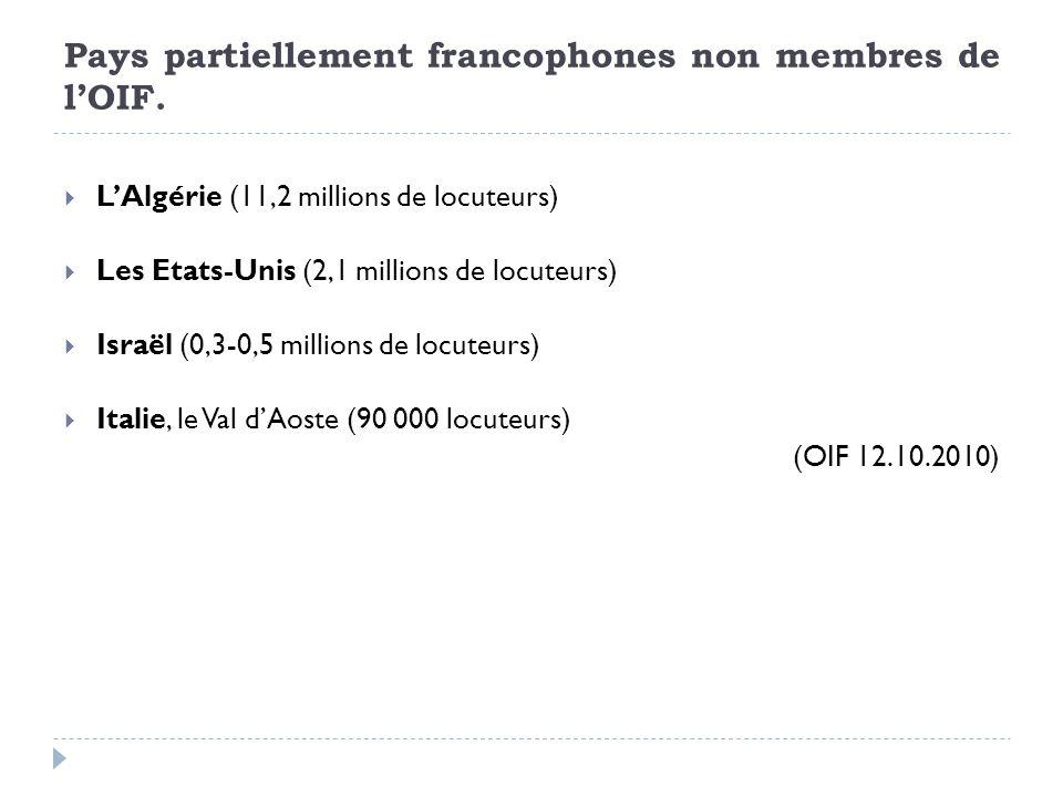 Pays partiellement francophones non membres de lOIF. LAlgérie (11,2 millions de locuteurs) Les Etats-Unis (2,1 millions de locuteurs) Israël (0,3-0,5