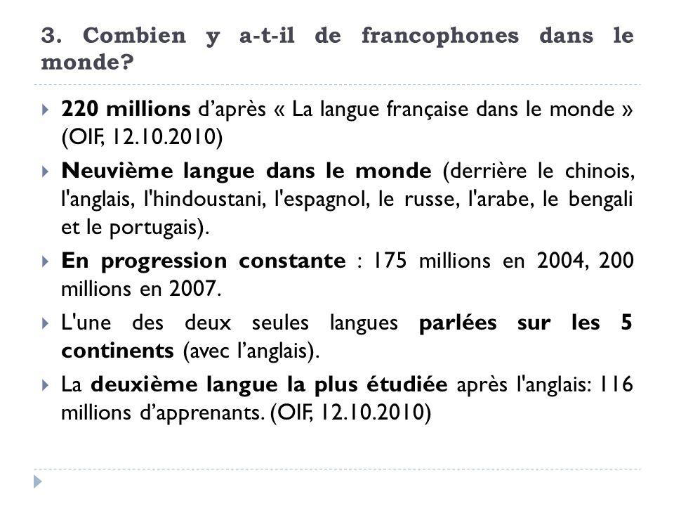 3. Combien y a-t-il de francophones dans le monde? 220 millions daprès « La langue française dans le monde » (OIF, 12.10.2010) Neuvième langue dans le