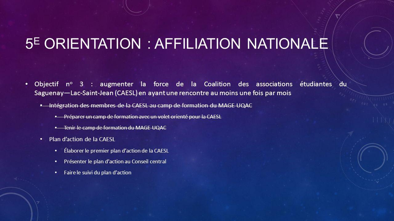 5 E ORIENTATION : AFFILIATION NATIONALE Objectif n o 3 : augmenter la force de la Coalition des associations étudiantes du SaguenayLac-Saint-Jean (CAESL) en ayant une rencontre au moins une fois par mois Intégration des membres de la CAESL au camp de formation du MAGE-UQAC Préparer un camp de formation avec un volet orienté pour la CAESL Tenir le camp de formation du MAGE-UQAC Plan daction de la CAESL Élaborer le premier plan daction de la CAESL Présenter le plan daction au Conseil central Faire le suivi du plan daction