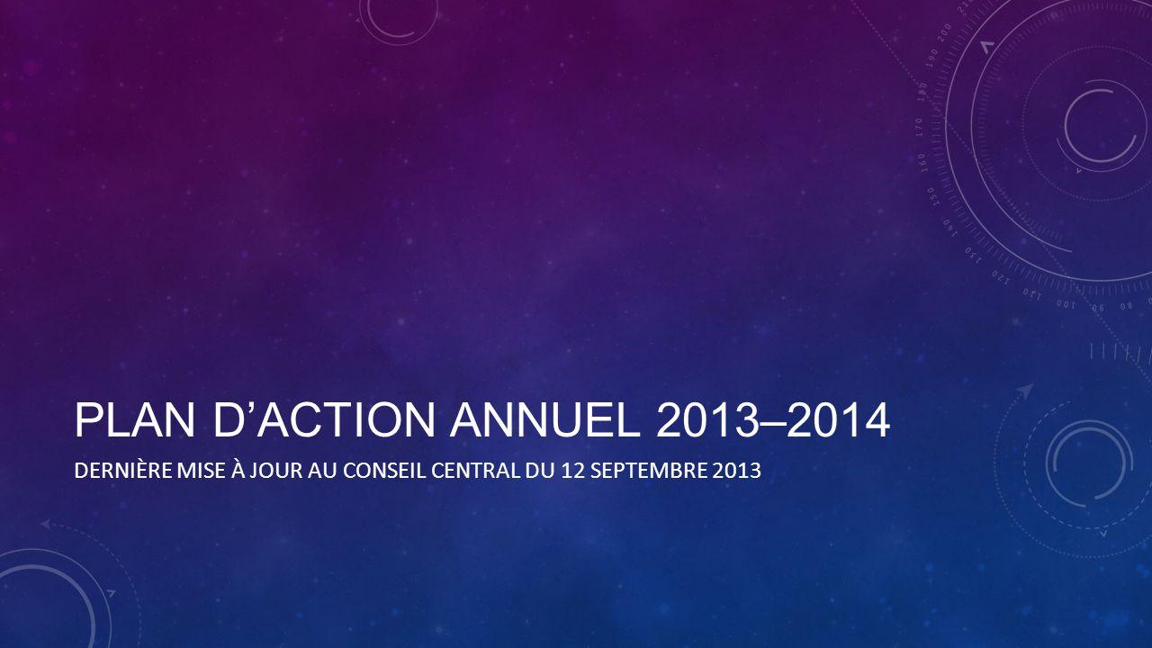 PLAN DACTION ANNUEL 2013–2014 DERNIÈRE MISE À JOUR AU CONSEIL CENTRAL DU 12 SEPTEMBRE 2013