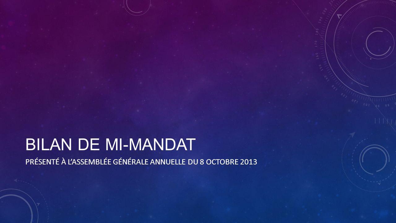 BILAN DE MI-MANDAT PRÉSENTÉ À LASSEMBLÉE GÉNÉRALE ANNUELLE DU 8 OCTOBRE 2013