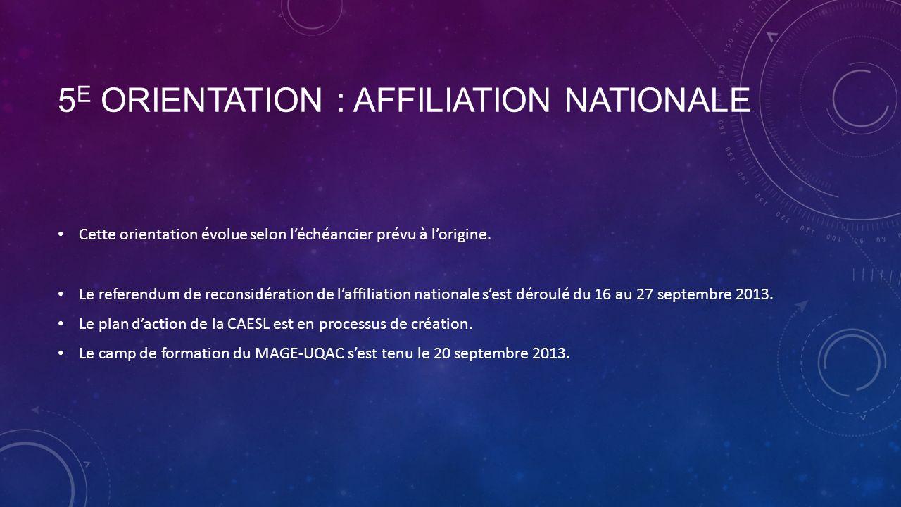 5 E ORIENTATION : AFFILIATION NATIONALE Cette orientation évolue selon léchéancier prévu à lorigine.