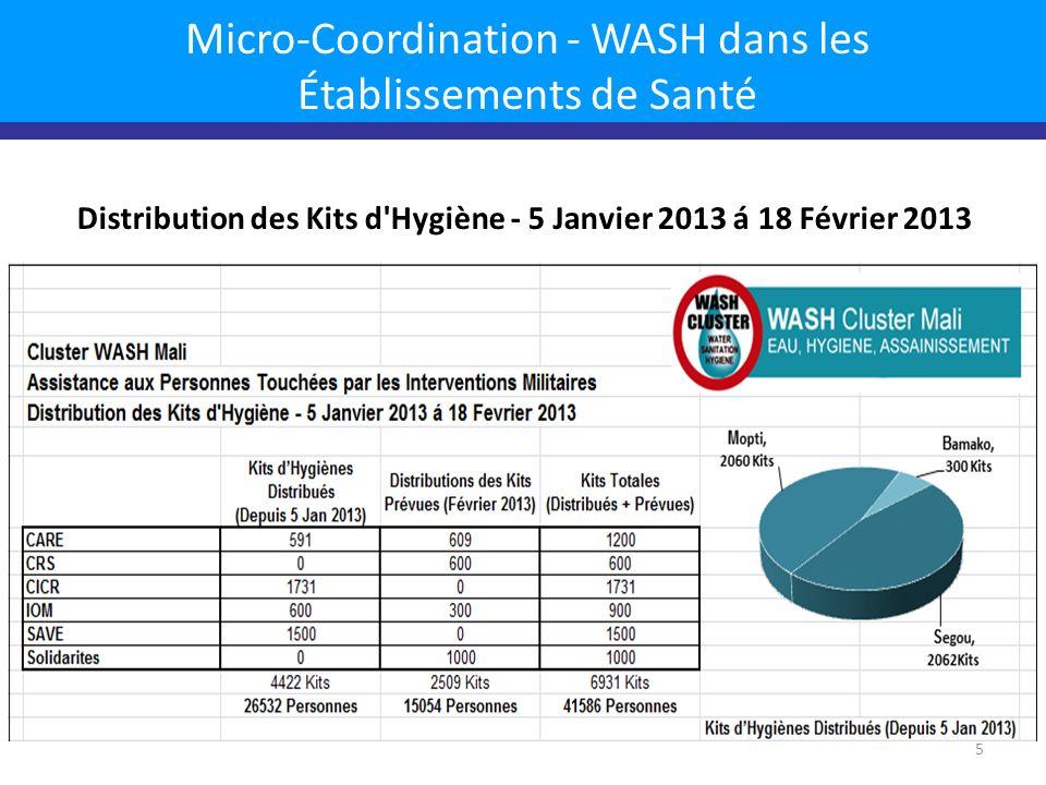Micro-Coordination - WASH dans les Établissements de Santé Distribution des Kits d Hygiène - 5 Janvier 2013 á 18 Février 2013 5