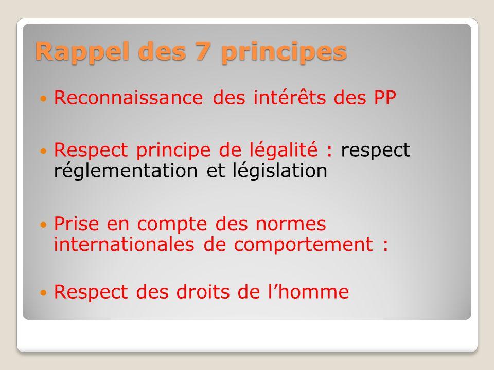 Rappel des 7 principes Reconnaissance des intérêts des PP Respect principe de légalité : respect réglementation et législation Prise en compte des nor