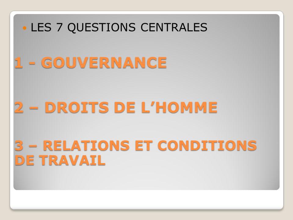 1 - GOUVERNANCE LES 7 QUESTIONS CENTRALES 2 – DROITS DE LHOMME 3 – RELATIONS ET CONDITIONS DE TRAVAIL