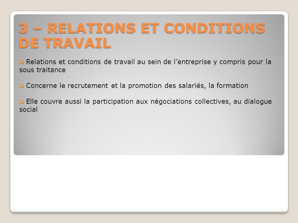 3 – RELATIONS ET CONDITIONS DE TRAVAIL Relations et conditions de travail au sein de lentreprise y compris pour la sous traitance Concerne le recrutem
