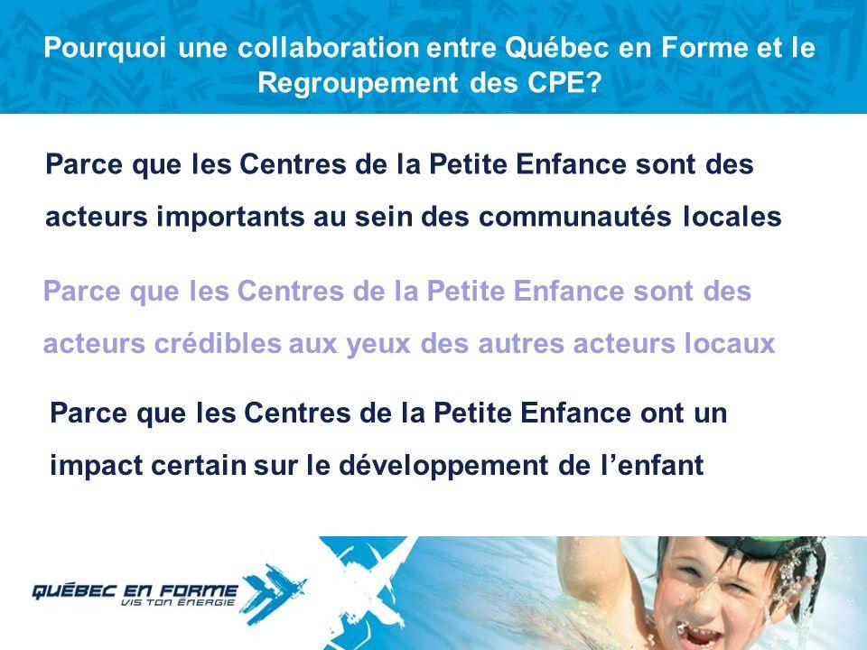 Titre de section Pourquoi une collaboration entre Québec en Forme et le réseau des CPE?