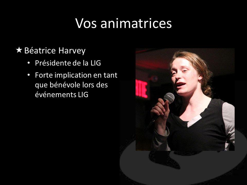Vos animatrices Béatrice Harvey Présidente de la LIG Forte implication en tant que bénévole lors des événements LIG
