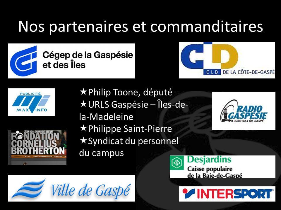 Nos partenaires et commanditaires Philip Toone, député URLS Gaspésie – Îles-de- la-Madeleine Philippe Saint-Pierre Syndicat du personnel du campus