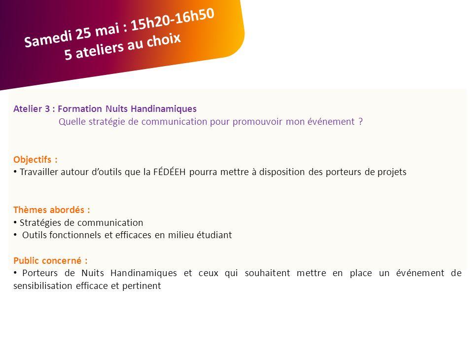 Atelier 3 : Formation Nuits Handinamiques Quelle stratégie de communication pour promouvoir mon événement .