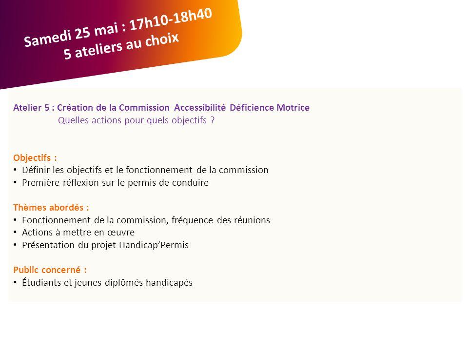 Atelier 5 : Création de la Commission Accessibilité Déficience Motrice Quelles actions pour quels objectifs .