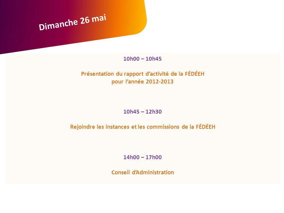 10h00 – 10h45 Présentation du rapport dactivité de la FÉDÉEH pour lannée 2012-2013 10h45 – 12h30 Rejoindre les instances et les commissions de la FÉDÉEH 14h00 – 17h00 Conseil dAdministration Dimanche 26 mai