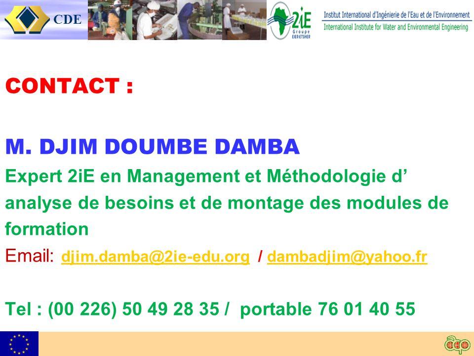 CDE CONTACT : M.