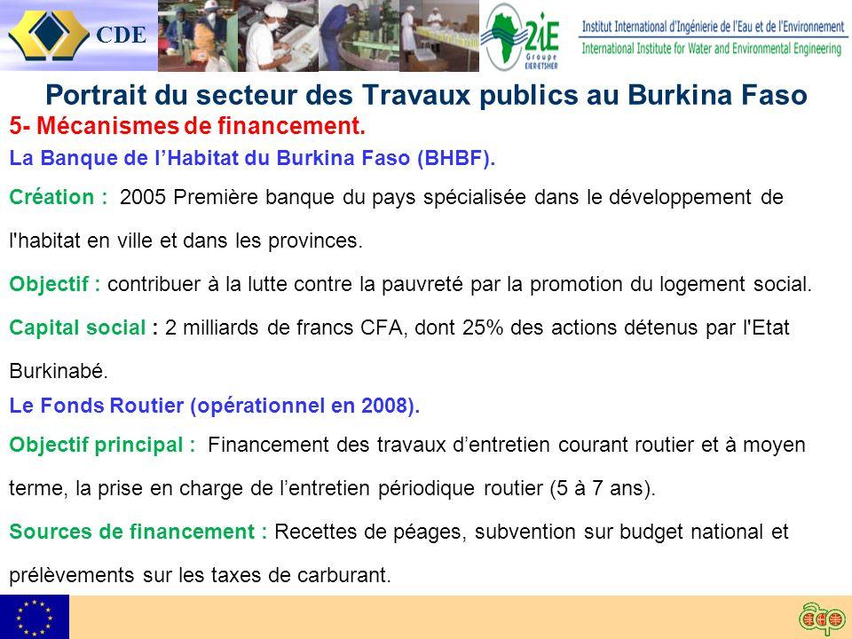 CDE Portrait du secteur des Travaux publics au Burkina Faso 5- Mécanismes de financement.