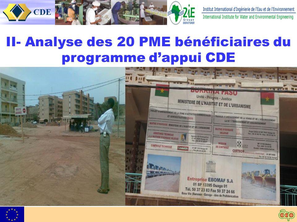 CDE II- Analyse des 20 PME bénéficiaires du programme dappui CDE