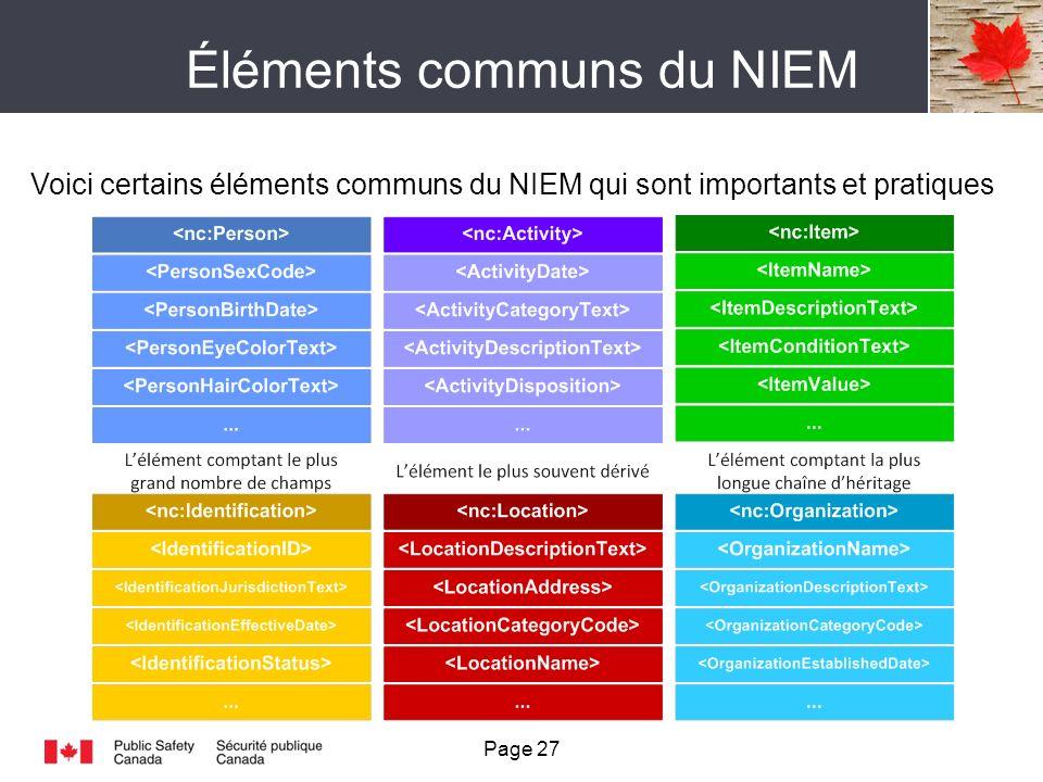 Éléments communs du NIEM Voici certains éléments communs du NIEM qui sont importants et pratiques Page 27