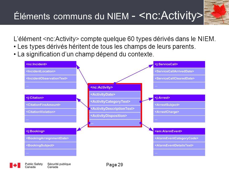 Éléments communs du NIEM - Lélément compte quelque 60 types dérivés dans le NIEM.