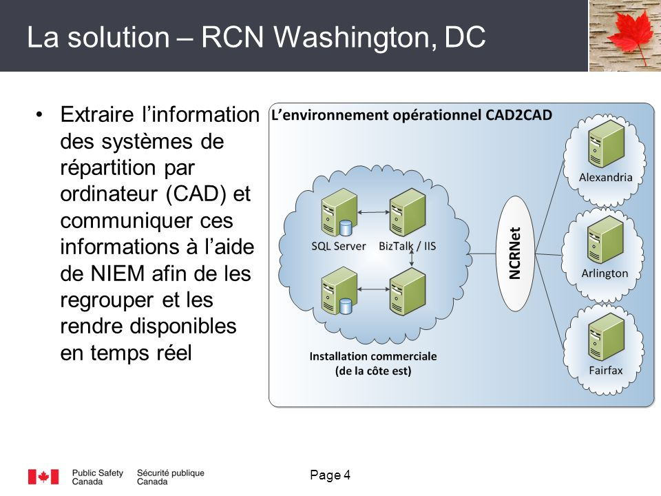 La solution – RCN Washington, DC Page 4 Extraire linformation des systèmes de répartition par ordinateur (CAD) et communiquer ces informations à laide de NIEM afin de les regrouper et les rendre disponibles en temps réel