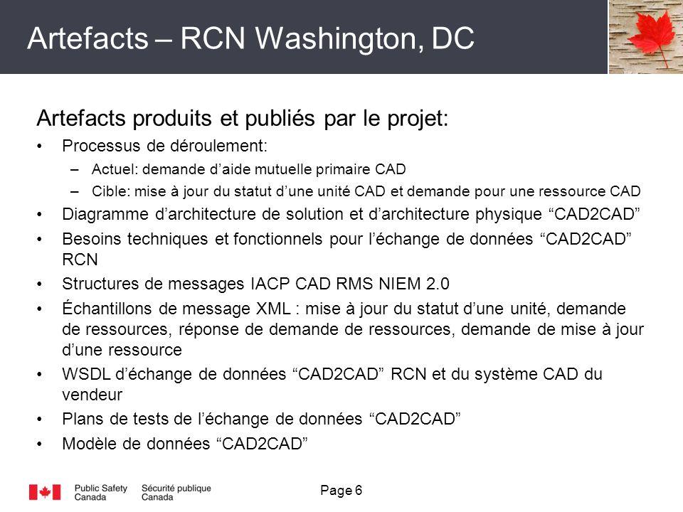 Artefacts – RCN Washington, DC Page 6 Artefacts produits et publiés par le projet: Processus de déroulement: –Actuel: demande daide mutuelle primaire CAD –Cible: mise à jour du statut dune unité CAD et demande pour une ressource CAD Diagramme darchitecture de solution et darchitecture physique CAD2CAD Besoins techniques et fonctionnels pour léchange de données CAD2CAD RCN Structures de messages IACP CAD RMS NIEM 2.0 Échantillons de message XML : mise à jour du statut dune unité, demande de ressources, réponse de demande de ressources, demande de mise à jour dune ressource WSDL déchange de données CAD2CAD RCN et du système CAD du vendeur Plans de tests de léchange de données CAD2CAD Modèle de données CAD2CAD