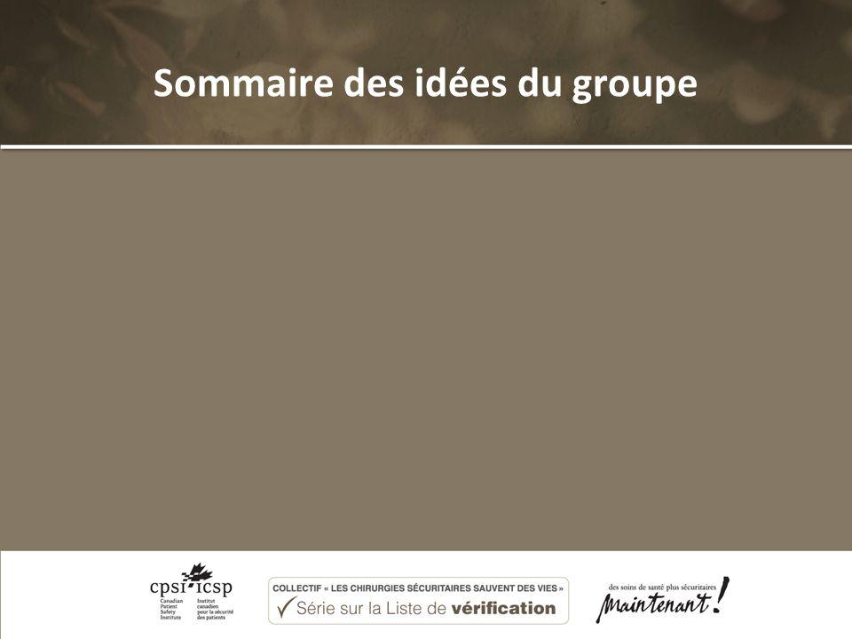Sommaire des idées du groupe