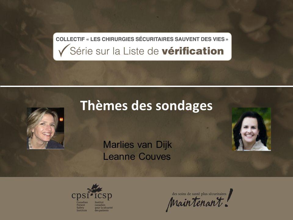 Thèmes des sondages Marlies van Dijk Leanne Couves