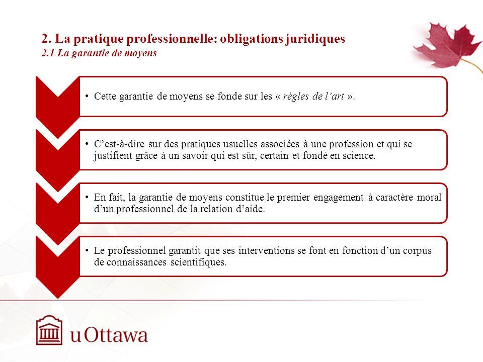 2. La pratique professionnelle: obligations juridiques 2.1 La garantie de moyens Semaine 2: Introduction à léthique professionnelle Toute pratique pro