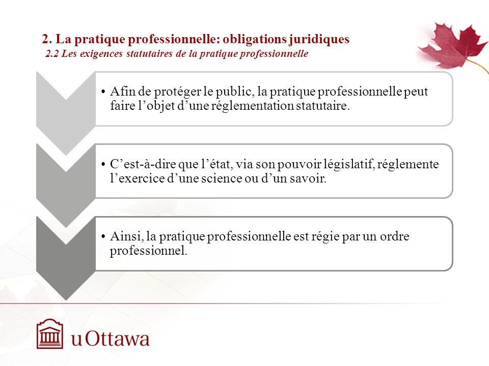 2. La pratique professionnelle: obligations juridiques 2.1 La garantie de moyens Semaine 2: Introduction à léthique professionnelle Le professionnel d