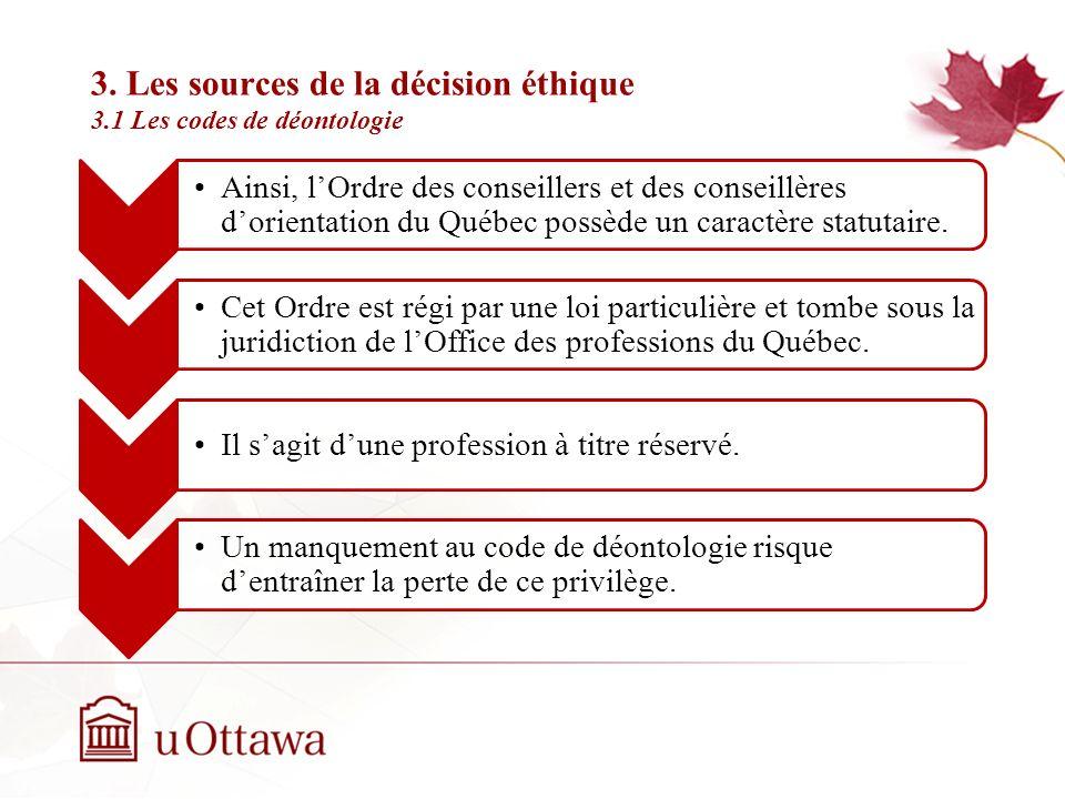 3. Les sources de la décision éthique 3.1 Les codes de déontologie Semaine 2: Introduction à léthique professionnelle Un code de déontologie est donc