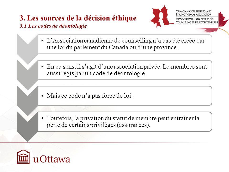 3. Les sources de la décision éthique 3.1 Les codes de déontologie Semaine 2: Introduction à léthique professionnelle Ainsi, lOrdre des conseillers et
