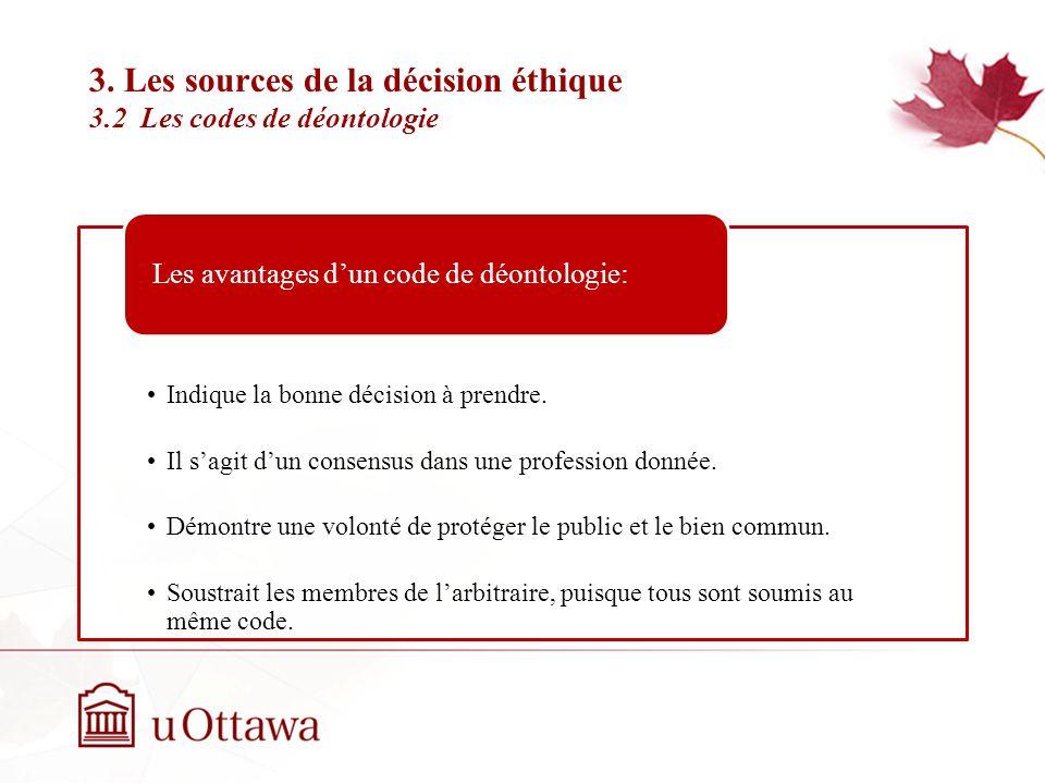 3. Les sources de la décision éthique 3.1 Les codes de déontologie Semaine 2: Introduction à léthique professionnelle Mais quelque soit sa nature juri