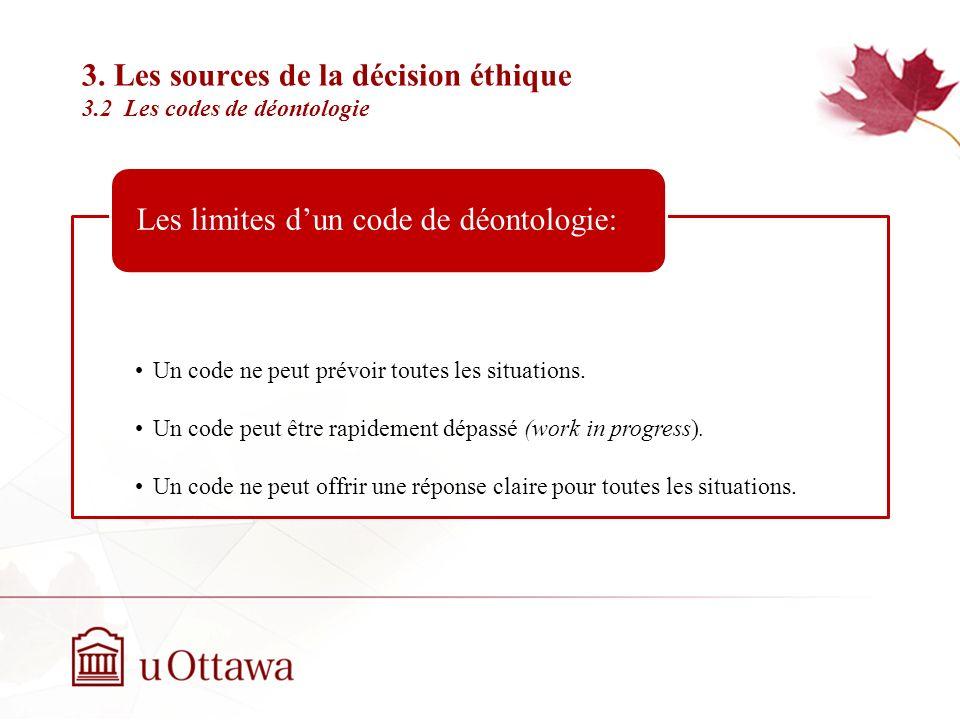 3. Les sources de la décision éthique 3.2 Les codes de déontologie Semaine 2: Introduction à léthique professionnelle Indique la bonne décision à pren