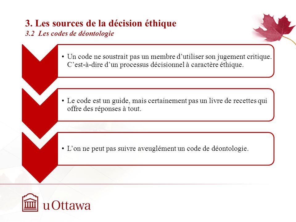 3. Les sources de la décision éthique 3.2 Les codes de déontologie Un code ne peut prévoir toutes les situations. Un code peut être rapidement dépassé